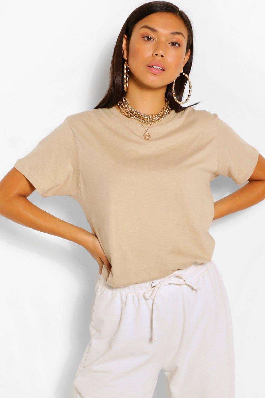 TOPS Beige Basic Oversized T-Shirt