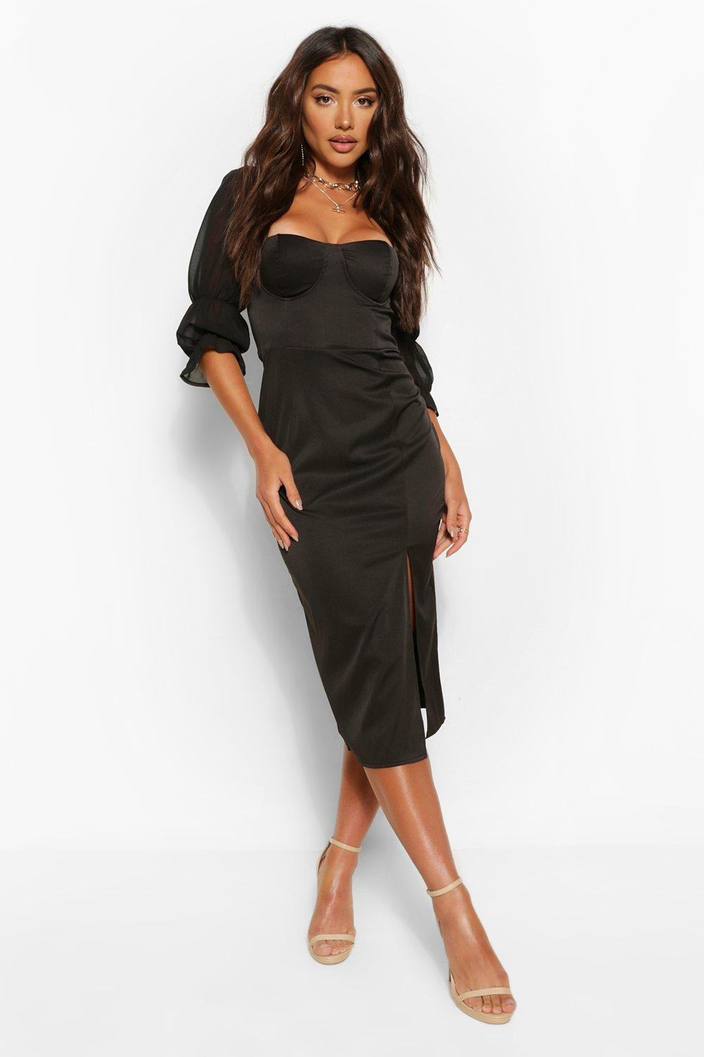 SALE Rouche Sleeve Detail Cupped Midi Dress
