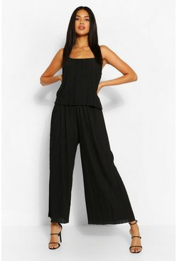 Black Plisse Strappy Jumpsuit