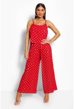 Red Foiled Spot Strappy Jumpsuit