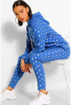 Blue Foiled Spot Hoody & Jogger Lounge Set