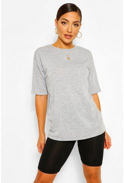 Grey Mixed Oversized T-shirt & Cycling Shorts Co-ord Set