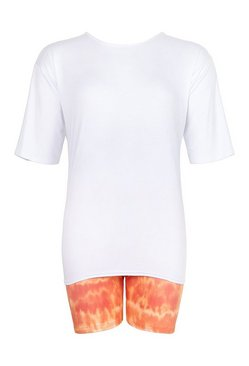 White Oversized T-shirt & Cycling Short Co-ord Set