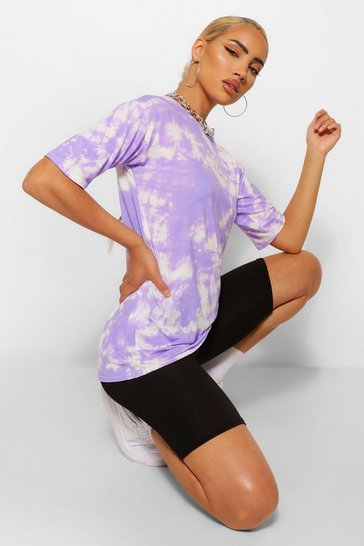 Lilac purple Oversized Tie Dye T-shirt& Cycling Short Co-ord Set