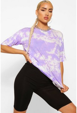 Lilac Oversized Tie Dye T-shirt& Cycling Short Co-ord Set