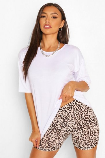 White Oversized T-Shirt And Leopard Cycling Short Co-ord