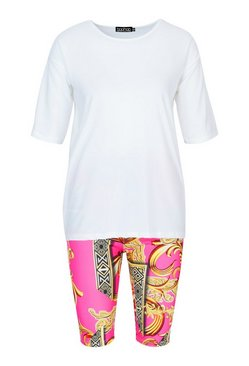 Pink Oversized T-Shirt&Scarf Print Cycling Shorts Co-ord