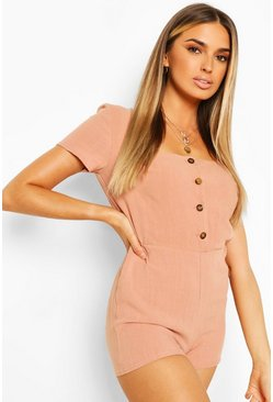 Blush Linen Button Front Playsuit