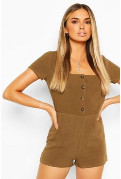 Khaki Linen Button Front Playsuit