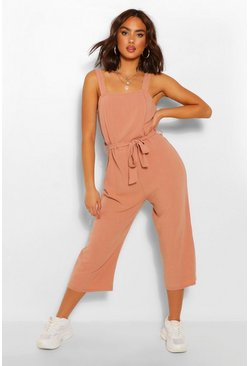 Blush pink Linen Culotte Jumpsuit With Tie Front