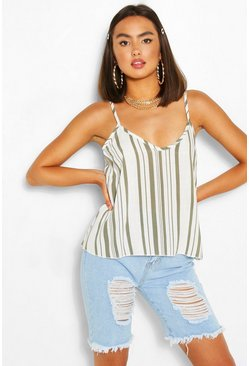 Khaki Striped Linen Cami Top