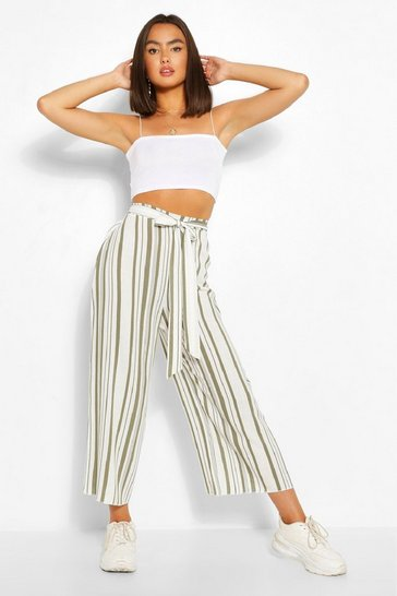 Khaki Striped Linen Tie Front Culottes