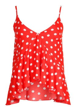 Red Chiffon Polka Dot Waterfall Front Cami Top