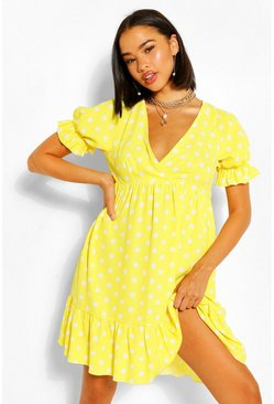 Yellow Chiffon Polka Dot Ruffle Smock Dress