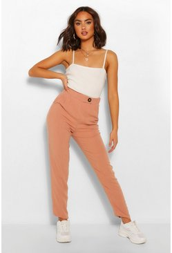 Blush Linen Trousers With Button Detail