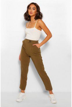 Khaki Linen Trousers With Button Detail