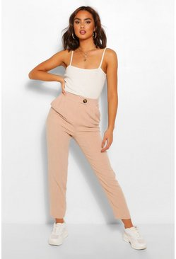 Stone beige Linen Trousers With Button Detail