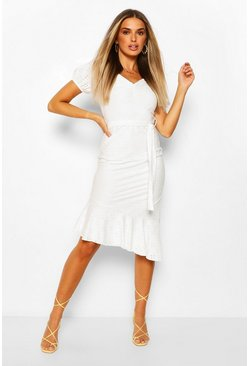 Ivory Broderie Anglaise Puff Sleeve Dress With Tie Belt