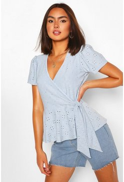 Blue Broderie Anglaise Wrap Top
