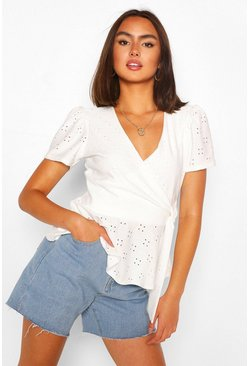 Cream white Broderie Anglaise Wrap Top