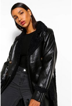 Black Faux Leather Teddy Trim Trench Coat