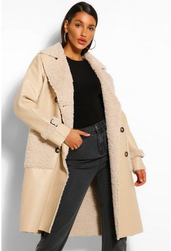 Stone beige Faux Leather Teddy Trim Trench Coat