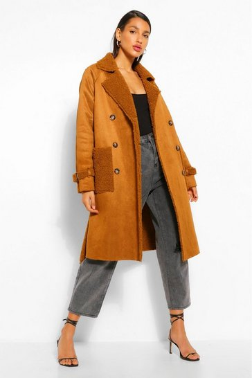 Chocolate brown Faux Suede Teddy Trim Trench Coat