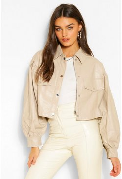 Stone beige Balloon Sleeve Faux Leather Trucker