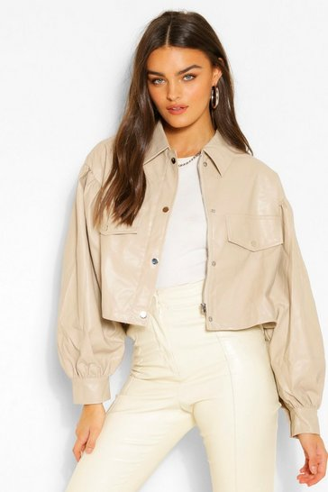 Stone beige Balloon Sleeve Faux Leather Shacket