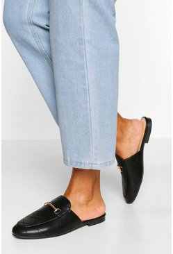 Black Quilted Basic Mule Loafers