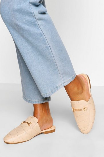 Cream white Quilted Basic Mule Loafers