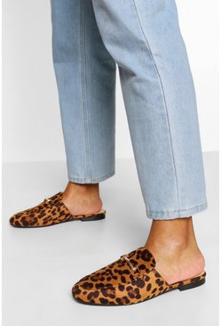 Leopard Basic Mule Loafers