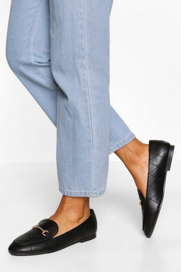 Black Quilted Basic T Bar Loafers
