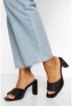 Black Padded Strap Low Heel Mules