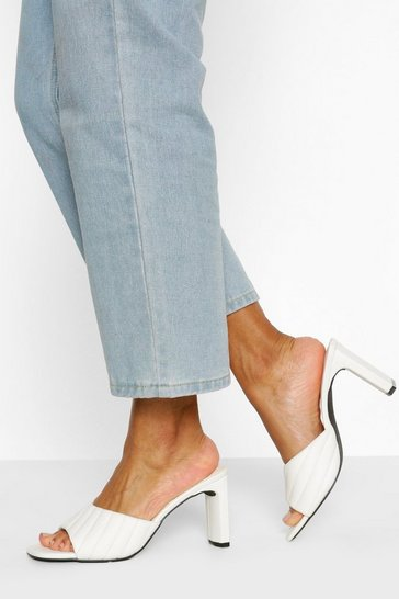 White Padded Strap Low Heel Mules