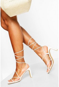 White Wrap Up Strappy Flat Heels
