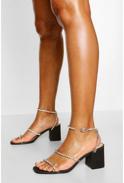 Black Diamante Triple Strap Low Block Heels