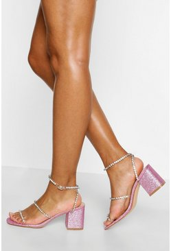 Pink Diamante Triple Strap Low Block Heels