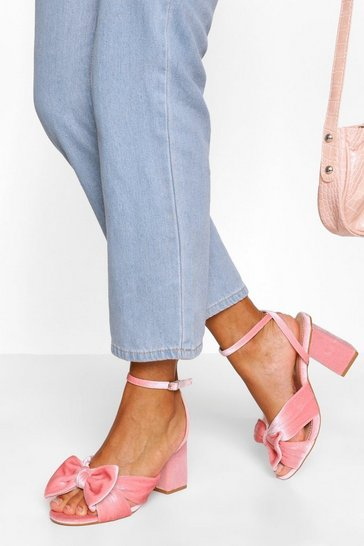 Pink Bow Front Low Block Heel Two Parts