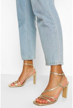 Gold metallic Square Toe Strappy Flat Heels