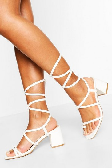 White Wrap Up Strappy Low Block Heels