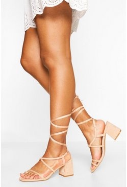 Nude Wrap Up Strappy Low Block Heels