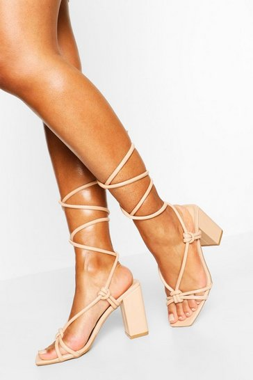 Nude Knot Detail Wrap Up Square Toe Block Heels