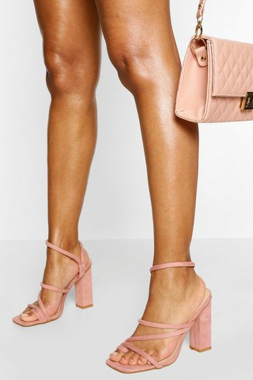 Blush pink Padded Strap Square Toe Block Heels