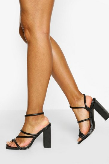 Black Padded Strap Square Toe Block Heels
