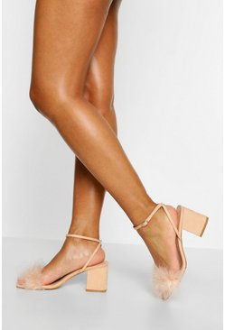 Nude Feather Strap Low Block Heel Two Parts