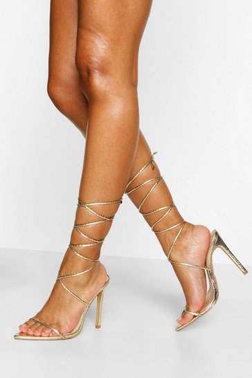 Gold metallic Skinny Strap Pointed Toe Wrap Up Two Parts