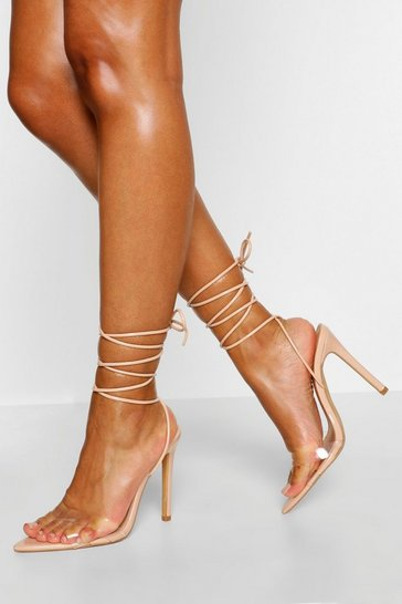 Nude Clear Strap Pointed Toe 2 Parts