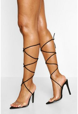 Black Clear Strap Pointed Toe Two Parts