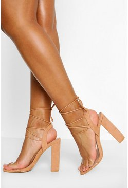 Nude Wrap Up Strappy Block Heels